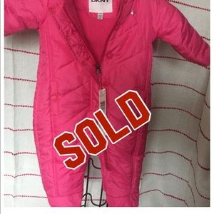 NWT DKNY Baby Girl Quilted Pink Snow Suit 3-6 M